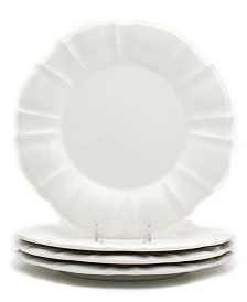 EuroCeramica Chloe 4 Piece White Dinner Plate Set