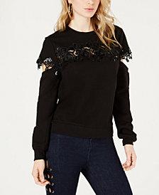 GUESS Lace-Trim Cutout Sweatshirt