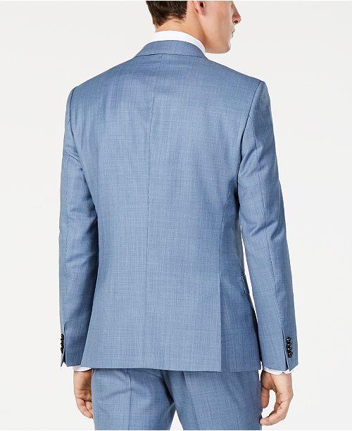 fd5487b5dc7 ... Hugo Boss Men s Modern-Fit Light Blue Mini-Check Suit Jacket ...