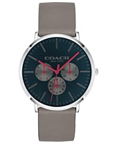 047cfdf83e2b COACH Men s Varick Heather Gray Leather Strap Watch 40mm