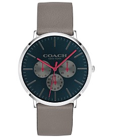 COACH Men's Varick Heather Gray Leather Strap Watch 40mm