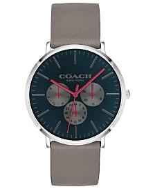 COACH Men's Varick Heather Gray Leather Strap Watch 40mm