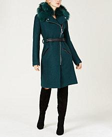 GUESS Yaya Belted Faux-Fur-Trim Coat
