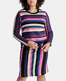 RACHEL Rachel Roy Plus Size Veda Metallic Striped Sweater, Created for Macy's