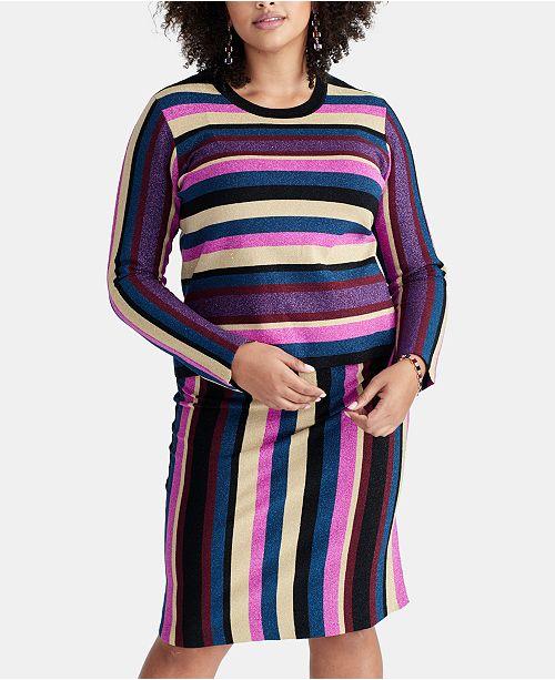RACHEL Rachel Roy Plus Size Veda Metallic Striped Sweater ...