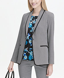 Calvin Klein Printed One-Button Blazer
