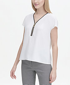 Calvin Klein Petites Piped Zip-Front Top