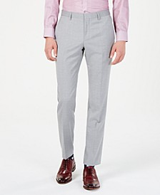 Men's Modern-Fit Light Gray Sharkskin Suit Pants