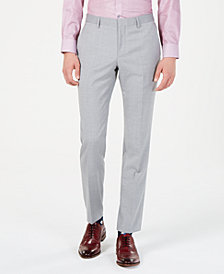 Hugo Boss Men's Modern-Fit Light Gray Sharkskin Suit Pants