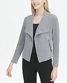 Calvin Klein Wing-Collar Open-Front Blazer