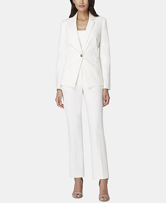 One Button Notch Collar Pantsuit by Tahari Asl