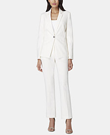 Tahari ASL One-Button Notch-Collar Pantsuit