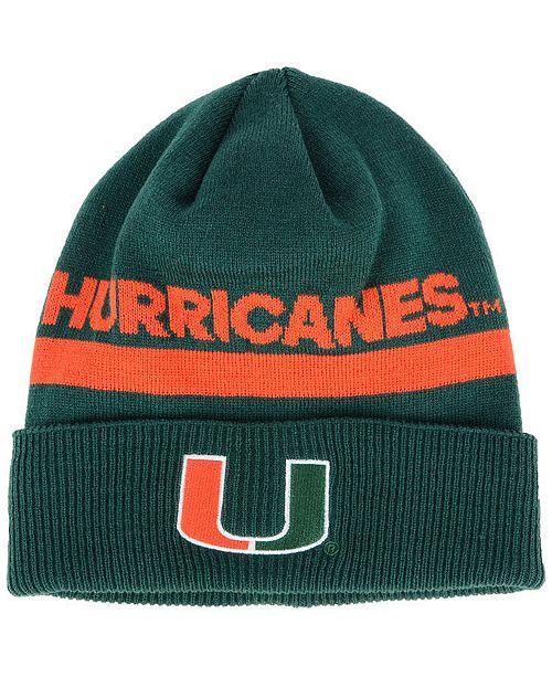 adidas Miami Hurricanes Coaches Cuffed Beanie - Sports Fan