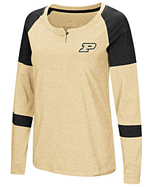 Colosseum Women's Purdue Boilermakers Colorblocked Raglan Long Sleeve T-Shirt