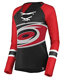 Majestic Women's Carolina Hurricanes Lace Up Long Sleeve T-Shirt