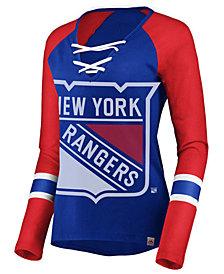 Majestic Women's New York Rangers Lace Up Long Sleeve T-Shirt