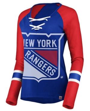Women's New York Rangers Lace Up Long Sleeve T-Shirt
