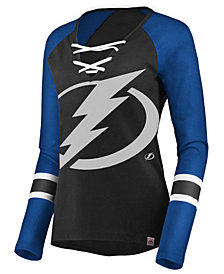 Majestic Women's Tampa Bay Lightning Lace Up Long Sleeve T-Shirt