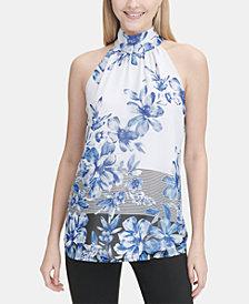 Calvin Klein Printed Chiffon Halter Top