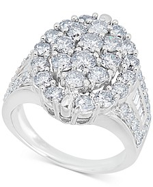 Diamond Oval Cluster Ring (4 ct. t.w.) in 14k White Gold