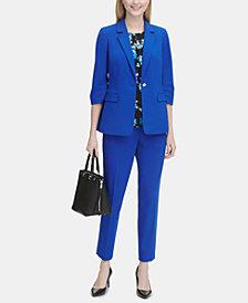 Calvin Klein 3/4-Sleeve Blazer, Floral-Print Top & Ankle Pants
