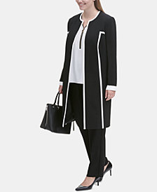 Calvin Klein Plus Size Piped Topper Jacket & Straight-Leg Pants
