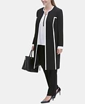 706eda5e4fd Calvin Klein Plus Size Piped Topper Jacket   Straight-Leg Pants