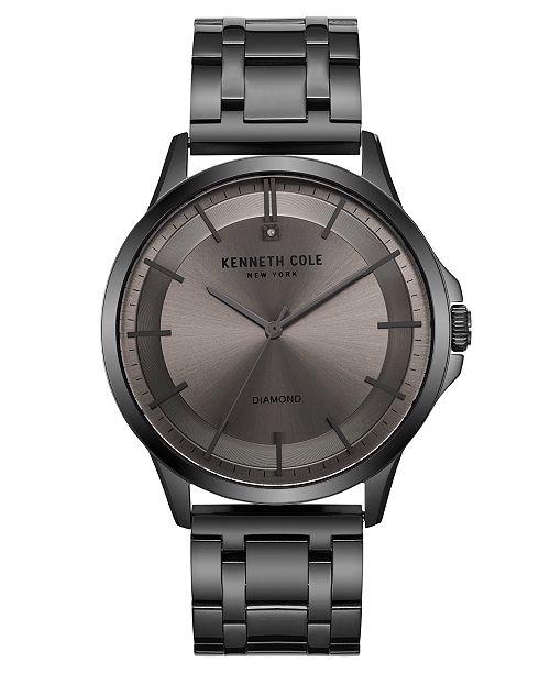 Kenneth Cole New York Men's Diamond Gun Metal Bracelet Watch 44mm
