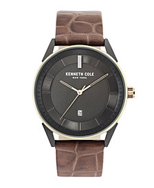 Kenneth Cole New York Men's KAM Stripe Brown Leather Strap Watch 42mm