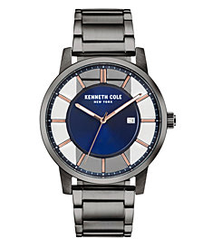 Kenneth Cole New York Men's Transparent Gun Metal Bracelet Watch 44mm