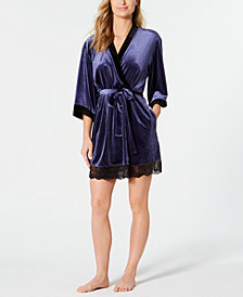 Thalia Sodi Velour-Trimmed Knit Wrap Robe, Created for Macy's