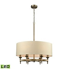 Pembroke 6 Light Chandelier in Brushed Antique Brass with A Light Tan Fabric Shade