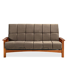 "Simmons Denver Vintage Oak Futon Frame With 8"" Beautyrest Pannel Quilted Pocketed Coil Innerspring Futon Mattress"