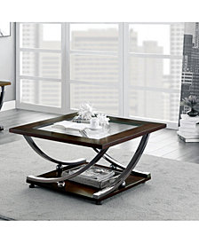 Brauno Square Glass-Insert Coffee Table