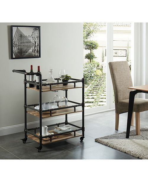 Furniture of America Byson 3-Tiered Mobile Serving Cart