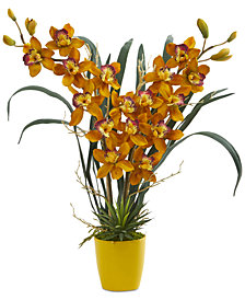 Nearly Natural Cymbidium Orchid Artificial Arrangement in Yellow Vase