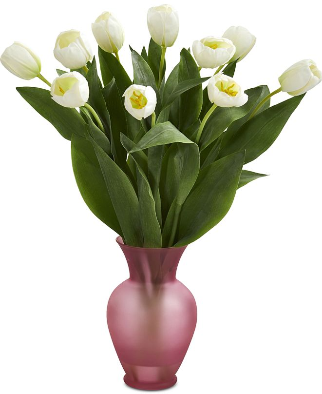 Nearly Natural Tulips Artificial Arrangement in Rose-Colored Vase