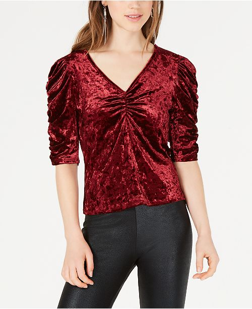 Material Girl Juniors' Ruched Velvet Top, Created for Macy's