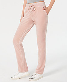 Material Girl Juniors' Lace-Up Velour Pants, Created for Macy's