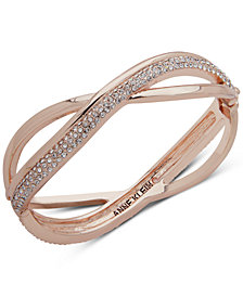 Anne Klein Rose Gold-Tone Pavé Overlap Bangle Bracelet, Created for Macy's