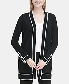 Calvin Klein Contrasting-Trim Open-Front Cardigan