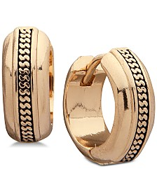 Anne Klein Gold-Tone Textured Mini Huggie Hoop Earrings