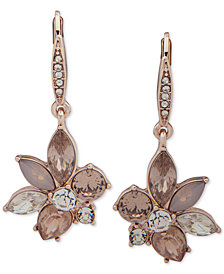 Anne Klein Rose Gold-Tone Crystal Flower Drop Earrings