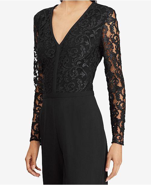 9eb288be725e Lauren Ralph Lauren Lace-Trim Crepe Jumpsuit   Reviews - Dresses ...