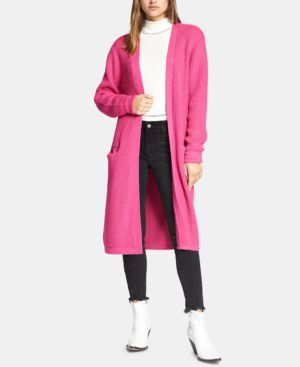 SANCTUARY Hit The Road Long Angora Cardigan in Street Pink