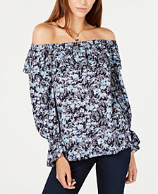 MICHAEL Michael Kors Printed Ruffled Off-The-Shoulder Top