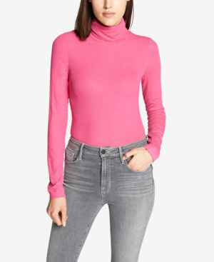 SANCTUARY Essential Turtleneck Top in Dark Pink