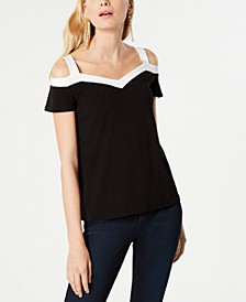 INC Contrast-Trim Cold-Shoulder Top, Created for Macy's