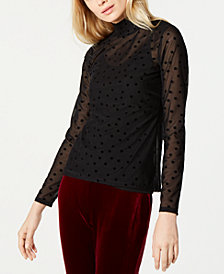 I.N.C. Illusion Dot-Print Mock-Neck Top, Created for Macy's