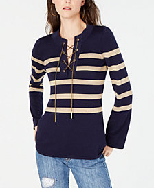 MICHAEL Michael Kors Chain Lace-Up Sweater, in Regular and Petite Sizes